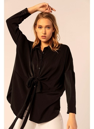 Tiffany&Tomato Önden Bağlamalı Yarasa Kol Dubai Gömlek Siyah